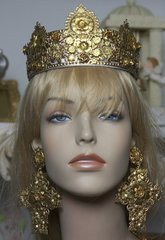 SOLD! 1588 Baroque Gold Filigree Designer Inspired Crown Headband