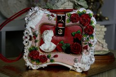SOLD! 545 Victorian Embellished Francesca Polymer Resin Hand Painted Crossbody Cherub Butterfly Unique Trunk