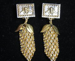 2365 Genuine Citrine Pineapple Bee Baroque Studs Earrings