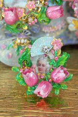 2190 MArie Antoinette Hand Painted Tulips Fan Adjustable Ring