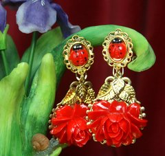2598 BAroque Red Peony Ladybug Gold LEaf Studs Earrings
