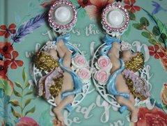 2466 Total Baroque Faced Hand Painted Cherubs Angel Studs Earrings