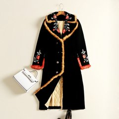 1667 Plus Sizes Designer Inspired Velvet Winter Coat