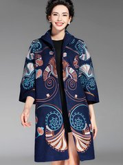 1612 Designer Inspired Embroidery Woolen Warm Asian Style Coat