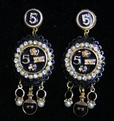SOLD! 2314 Madam Coco Black Massive Pearl Studs Earrings
