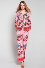 2438 Designer Inspired Pajama Pink Floral Print Twinset