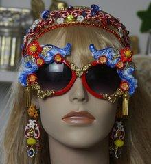 SOLD!1411 Baroque Designer Inspired Blue Red Gold Tassel Embellished Sunglasses