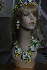 SOLD! 345 Spring 2016 Lemon Fruit Massive Blue Flower Set Necklace Plus Earrings