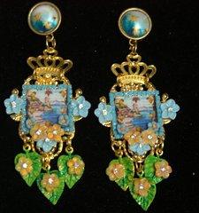 2459 Sicilian Tile Taormina Leaf Crown Studs Earrings