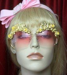 SOLD! 2600 Baroque Gold Filigree Embellished Pink Sunglasses