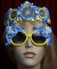 SOLD! 2085 Baroque Designer Inspired Yellow Blue Crurves Sunglasses