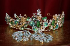 SOLD! 2135  Set Of Mermaids Pearl Hand Painted Stunning Tiara Crown+ Earrings