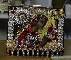 SOLD! 753  Italian Renaissance Swarovski Crystal Embellished One Of A Kind Cigar Box Crossbody Handbag