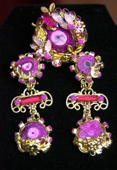 2282 Set Of Genuine Purple Agate Baroque Studs + Cocktail Adjustable Ring