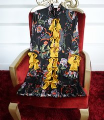 1375 100% Silk Yellow Bow Floral Print Pleated Mini Dress