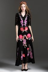 2360 Designer Inspired Lace Embroidery Maxi Dress