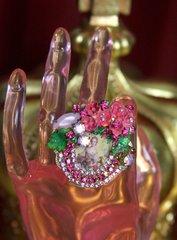 2018 Marie Antoinette Hand Painted Flowers Crystal Huge Ring