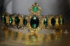 SOLD! Runway Designer Inspired Baroque Green Rhinestone Metal Crown Tiara