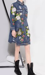 1580 Jeans Floral Pockets Embroidery Runway Jacket-Dress