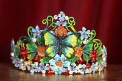 2223 Hand Painted Butterfly Art Nouveau Crystal Tiara Crown