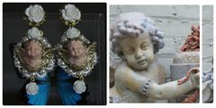 SOLD! 353 Baroque Vivid Cherub White Lace Rose Massive Earrings Studs