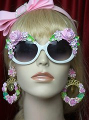 SOLD! 2594 Pale Pink Baroque Rococo Embellished White Sunglasses Shades