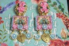2514 Virgin Mary Hand Painted Flower Cameo Heart Studs Earrings