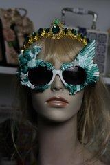 492  Malachite Effect UV 400 Zibellini Cherub Winged Unusual Unique Sunglasses