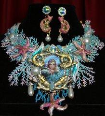2370 Russian Mermaid Coral Seastar Massive Set Necklace+ Earrings
