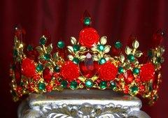 2133 Baroque Red Rose Leaf Green Crystal Tiara Crown