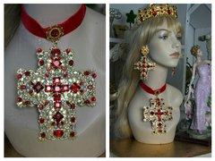 SOLD! 1465 Alta Moda Fall 2016 Baroque Huge Cross Velvet Red Crystal Choker