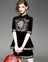 1802 Baroque Gold Embroidery Velvet Twinset