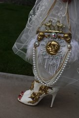 SOLD! 199 Runway Designer Inspired Bridal Feather Swangs La Luna El Sol Embellished One Of A Kind Clutch Purse
