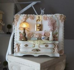 SOLD! 541 Impressive Victorian Lamp On Embellished Crossbody White Unique Trunk