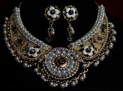 SOLD! 1597 Chanel Repurposed Button Pearl Crystal Filigree SET