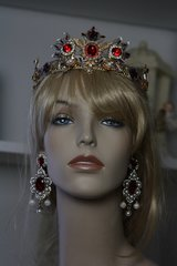 SOLD! SET Baroque Red Rhinestone Gold Filigree Crown Headband Tiara