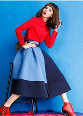 2496 2 Colors Scuba Color-block Mid Cuff Trendy Skirt