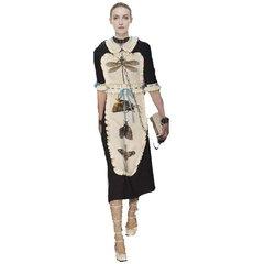 2380 Fall 2017 Designer Inspired Bug Crystal Appliqe Print Made Dress