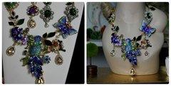 695  SET Enamel Crystal Birds Enamel Flower Statement Necklace + Earrings