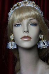 2331 MAdam Coco Houndstooth Bow Pearl Flower Studs Earrings