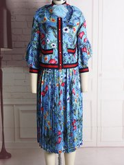 1604 Designer Floral Print Pleated Skirt Silky Touch Twinset