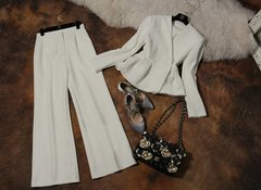4111 White Twinset Dobby Blazer Wide Palace Pants