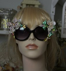 958  Art Nouveau Enamel Flower Crystal Butterfly Embellished Fancy Shades Sunglasses Eye Wear