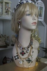 SOLD! 574 SET Byzantine Coco Chain Pearl Runway Camellia Fashion Statement Necklace