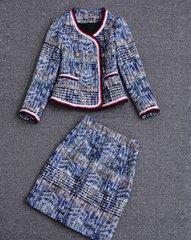 1645 Madam Coco Tweed Royal Blue Red  Blazer+ Skirt Twinset