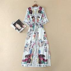 2456 Runway Designer Letter Print Floral Dress