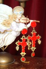 2597 Total Baroque Red Rose Coin Cross Studs Earrings