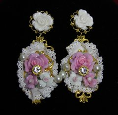 SOLD!1906 Baroque Hand Painted Pink Rose Lace Earrings