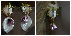 1269 Enamel Nereid Fairy Pearl Leaf Pink Crystal Studs
