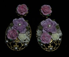 1894 BAroque Lace Hand Painted Lavander Rose Studs
